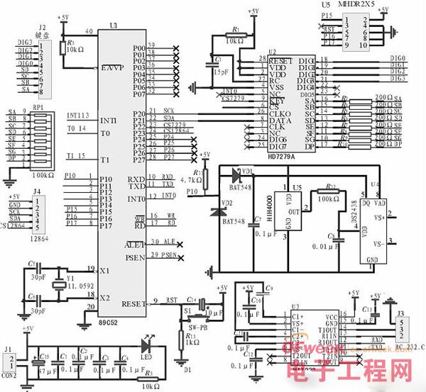 中央空调温湿度检测系统硬件原理图