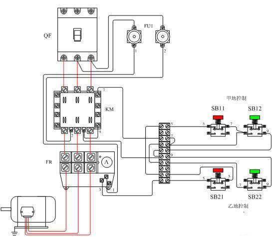 两个按钮箱可分别放在控制室和电动机旁
