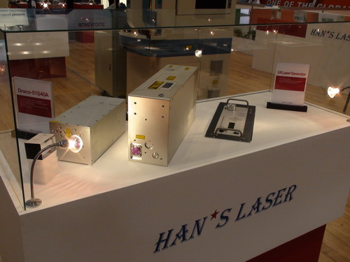 大族激光展示了多个自主研发,具有国际专利的激光打标机,激光焊接机及